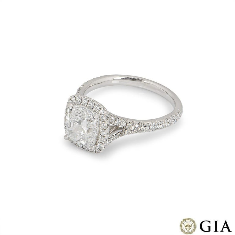 Women's GIA Certified Cushion Cut Diamond Engagement Ring 2.14ct F/VS1 For Sale