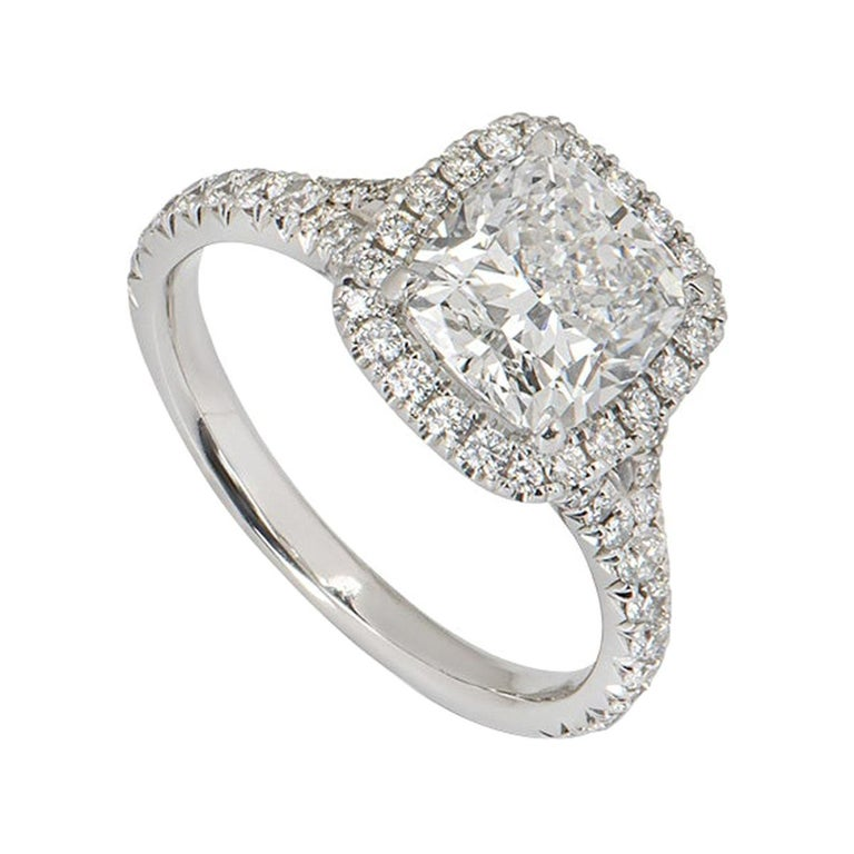 GIA Certified Cushion Cut Diamond Engagement Ring 2.14ct F/VS1 For Sale