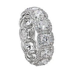 GIA Certified Cushion Cut Diamond Halo Eternity Wedding Band in Platinum