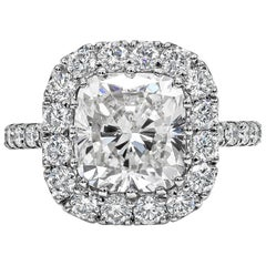 GIA Certified Cushion Cut Diamond Platinum Halo Engagement Ring