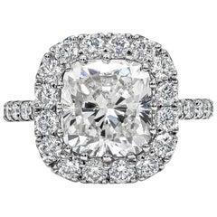 Roman Malakov GIA Certified Cushion Cut Diamond Platinum Halo Engagement Ring