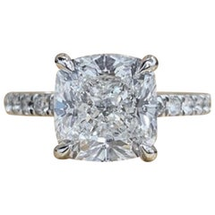INTERNALLY FLAWLESS GIA Certified 3 Carat Cushion Diamond Pave Ring