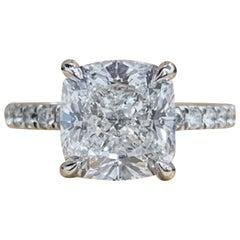 GIA Certified  2.50 Carat Cushion Diamond Pave Ring VVS2 Clarity