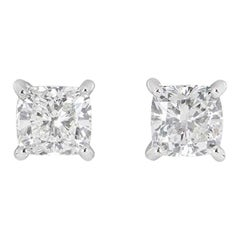 GIA Certified Cushion Cut Diamond Stud Earrings 3.23 Total Carat