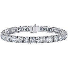 GIA Certified Cushion Cut Diamond Tennis Bracelet 33.07 Carat by Louis Newman