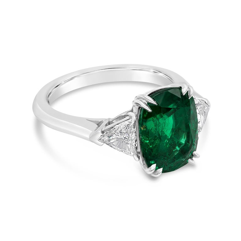 Gia Certified Cushion Cut Emerald And Diamond Three Stone Engagement Ring