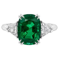 Roman Malakov, Cushion Cut Emerald and Diamond Three-Stone Engagement Ring