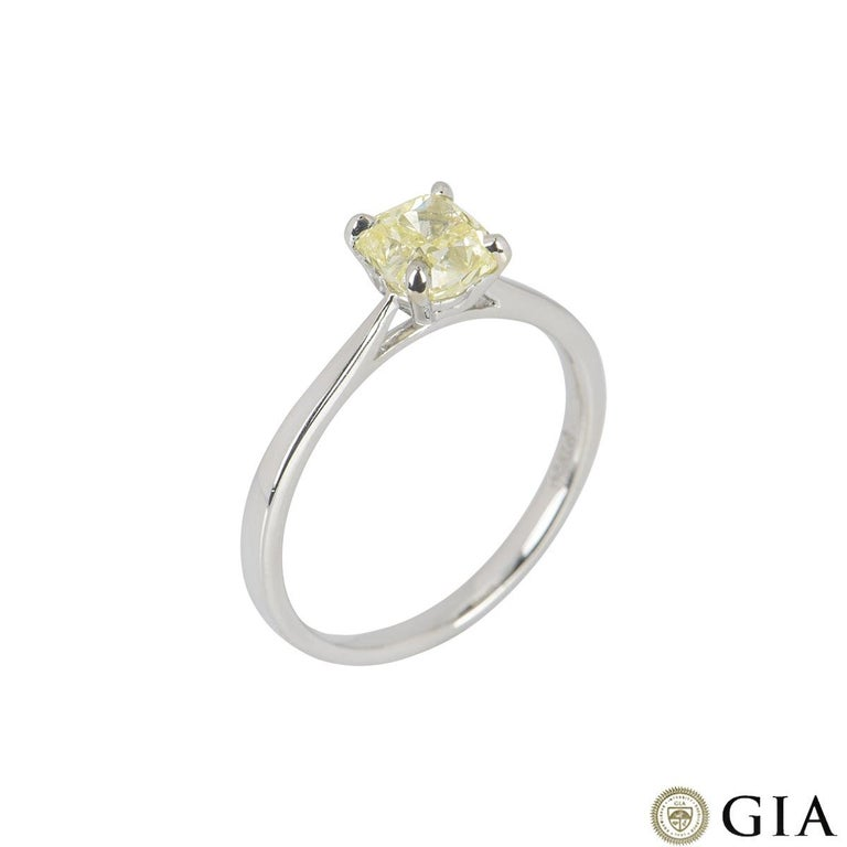 GIA Certified Cushion Cut Fancy Yellow Diamond Engagement Ring 1.01 Carat In Excellent Condition For Sale In London, GB