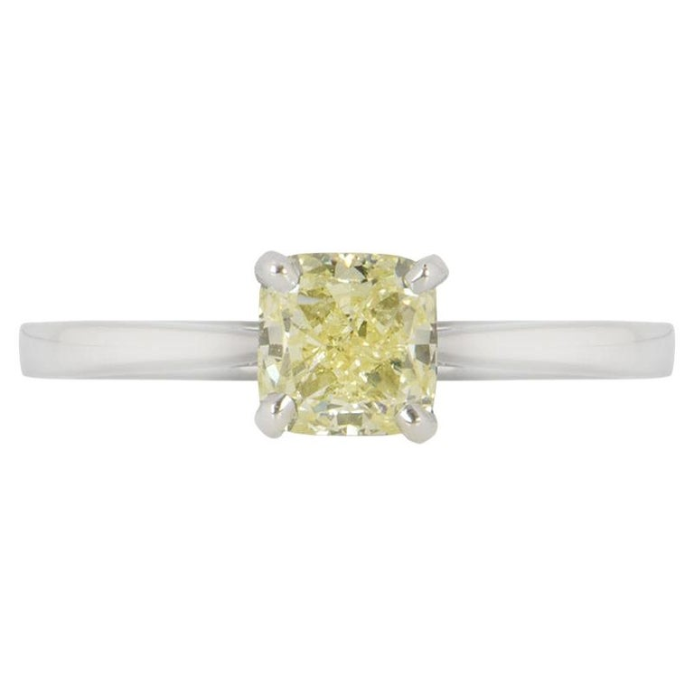 GIA Certified Cushion Cut Fancy Yellow Diamond Engagement Ring 1.01 Carat For Sale