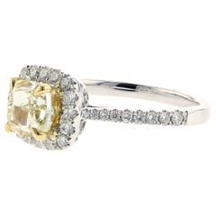 GIA Certified Cushion-Cut Yellow Diamond Engagement Ring