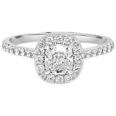 GIA Certified Cushion Diamond 0.73 Carat Halo Gold Bridal Engagement Ring