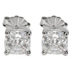 GIA Certified Cushion Diamond Stud Earring in 14K Gold E VVS2/VS2 2.03 Carat