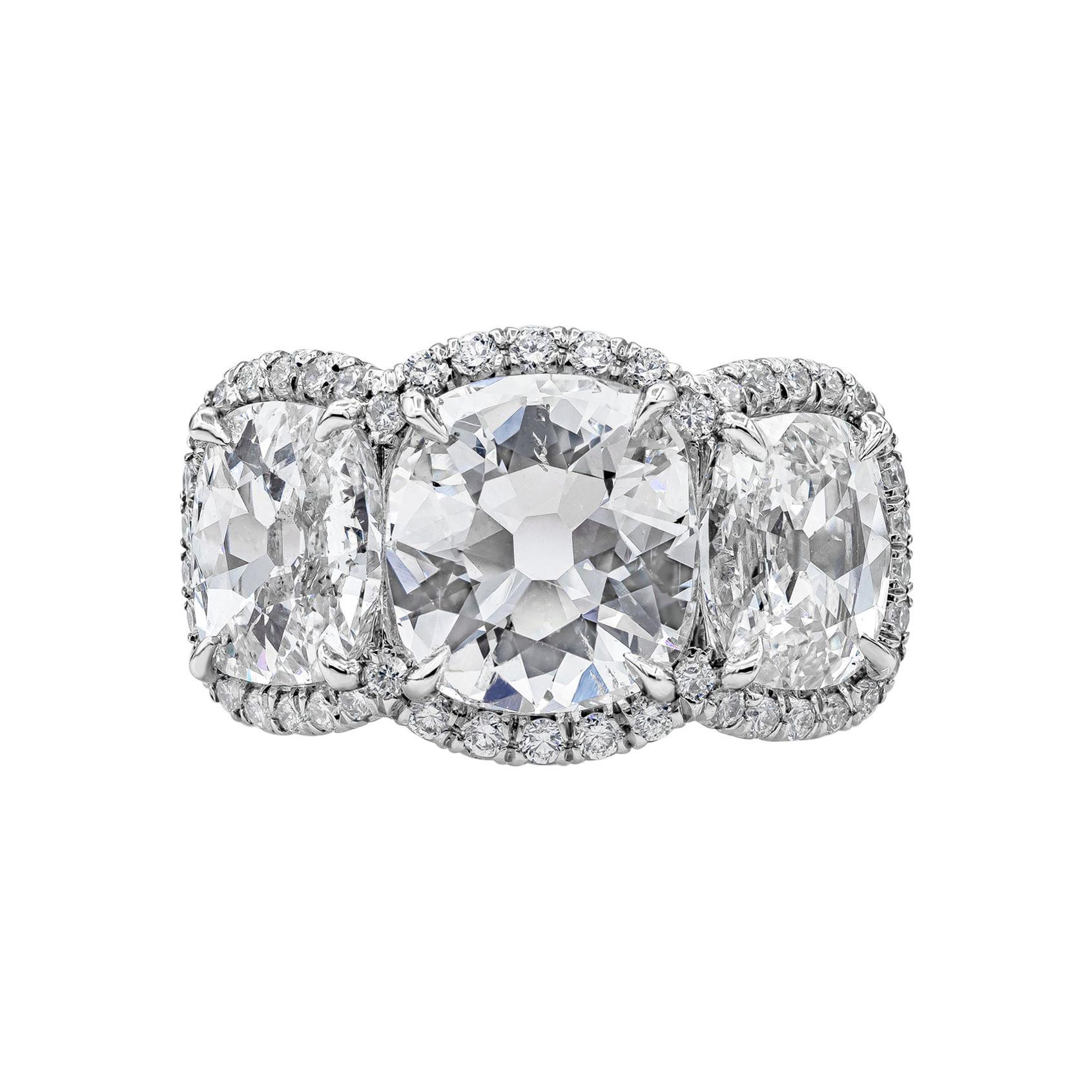 GIA Certified Cushion Diamond Three-Stone Halo Engagement Ring