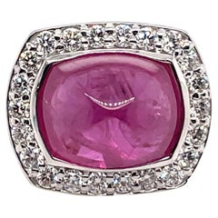 GIA Certified Cushion Ruby Halo Diamond Ring 8.94 Carat 14 Karat White Gold