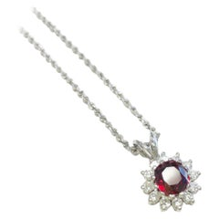 GIA Certified Cushion Ruby of 2.04Ct Set in 14K Gold Diamond Halo Pendant