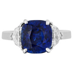 GIA Certified Cushion Shape Royal Blue Sapphire Ring Eapulette Diamonds