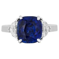 GIA Certified Cushion Shape Royal Blue Sapphire Ring Eapulette Diamonds