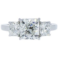 GIA Certified Cushion Shaped Diamond 3-Stone Platinum Engagement Ring