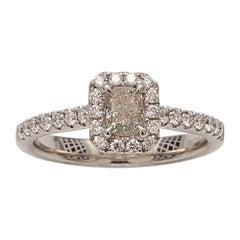 GIA Certified Cushion White Diamond Engagement 18K Ring 0.83 TW
