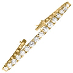 GIA Certified Custom 14.00 Carat Diamond Tennis Bracelet in 14 Karat Yellow Gold