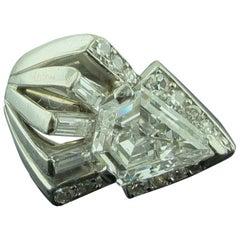 GIA Certified D Color 1.85 Carat Shield Cut Diamond Ring in Platinum/14 Karat