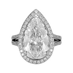 GIA Certified, D-IF, 5.07 Carat Pear Shape Diamond Halo Engagement Ring