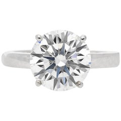 GIA Certified D Color VS2 Clarity 4.00 Carat Round-Brilliant Cut Engagement Ring