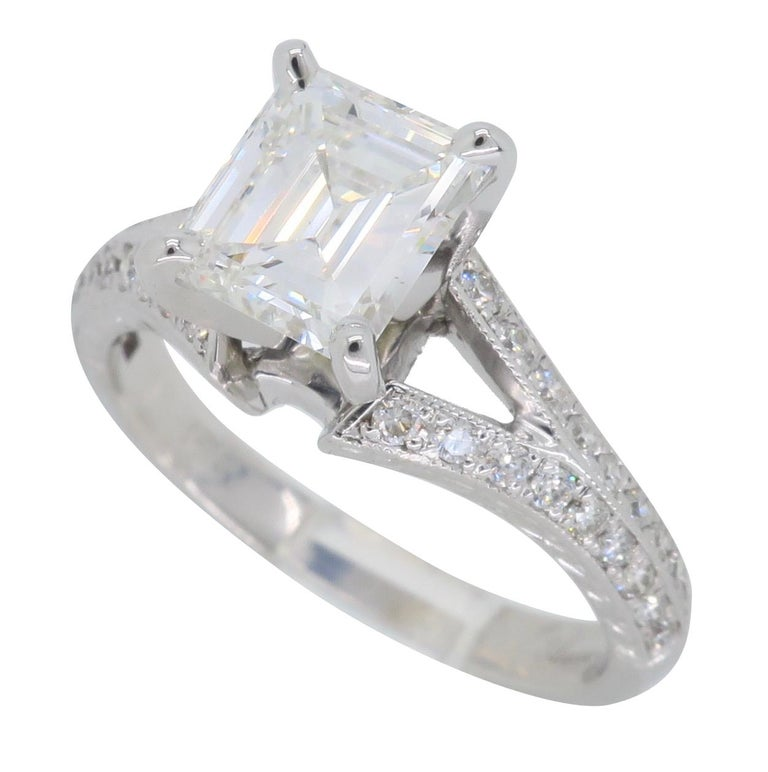 GIA Certified D VVS2 Emerald Cut Diamond Engagement Ring In New Condition In Webster, NY