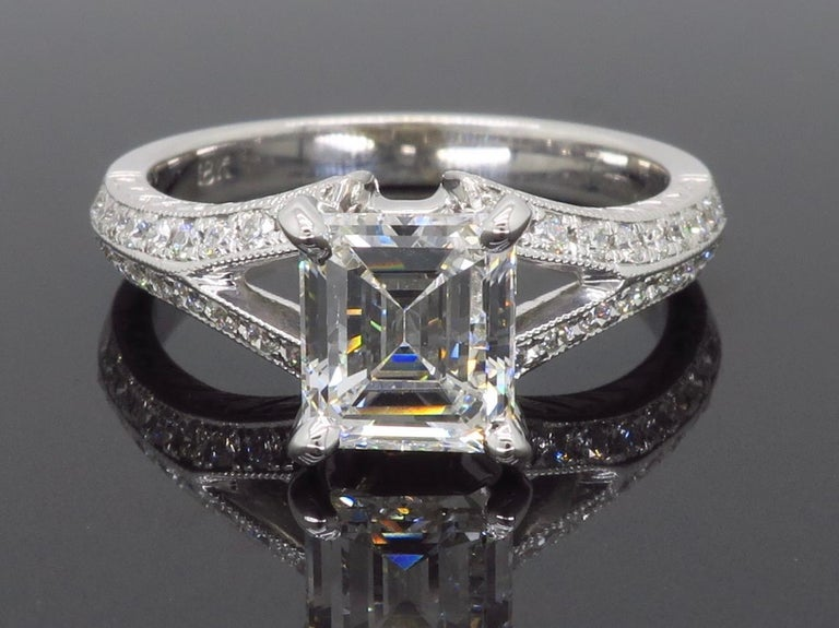 GIA Certified D VVS2 Emerald Cut Diamond Engagement Ring 1