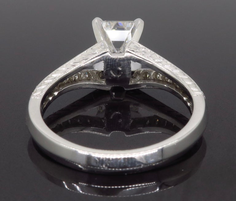 GIA Certified D VVS2 Emerald Cut Diamond Engagement Ring 4