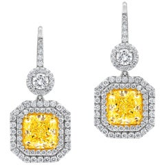 GIA Certified Dangling Natural Fancy Yellow Halo Diamond Earrings