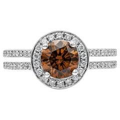 GIA Certified Deep Brownish Yellow Orange Diamond Halo Engagement Ring