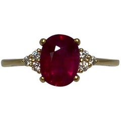 GIA Certified Deep Red Untreated Ruby and Diamond Oval Cut 18k Yellow Gold Ring