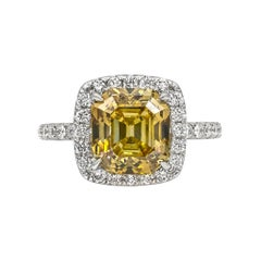 GIA Certified Deep Yellow Square Emerald Cut Diamond Halo Engagement Ring