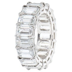 GIA Certified DEF Color 12.27 Carat Emerald Cut Diamond Eternity Band Ring