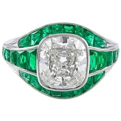 GIA Certified Diamond 2.87 Carat and Gorgeous Emerald Art Deco Style Ring