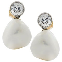GIA Certified Diamond and Pearl Earrings