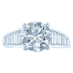 GIA Certified Diamond and Platinum Contemporary Ring