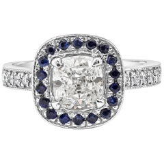 GIA Certified Diamond and Sapphire Halo Engagement Ring