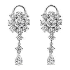 Roman Malakov, GIA Certified Diamond Cluster Dangle Earrings
