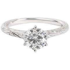 GIA Certified Diamond Engagement Ring in 14 Karat White Gold 1.01 Carat