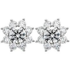 GIA Certified Diamond Flower Cluster Earrings