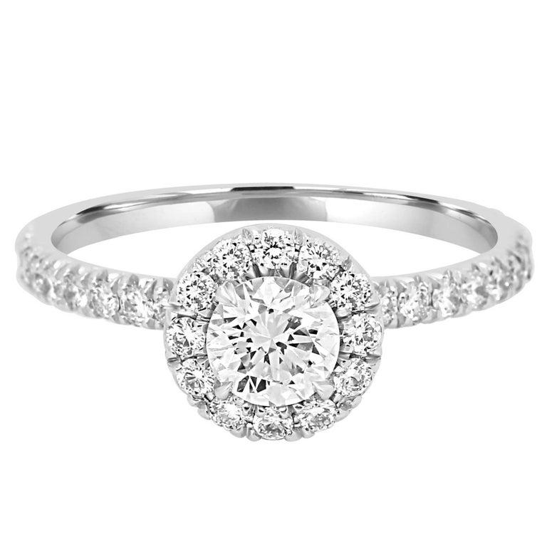 GIA Certified Diamond Halo Platinum Gold Engagement Ring