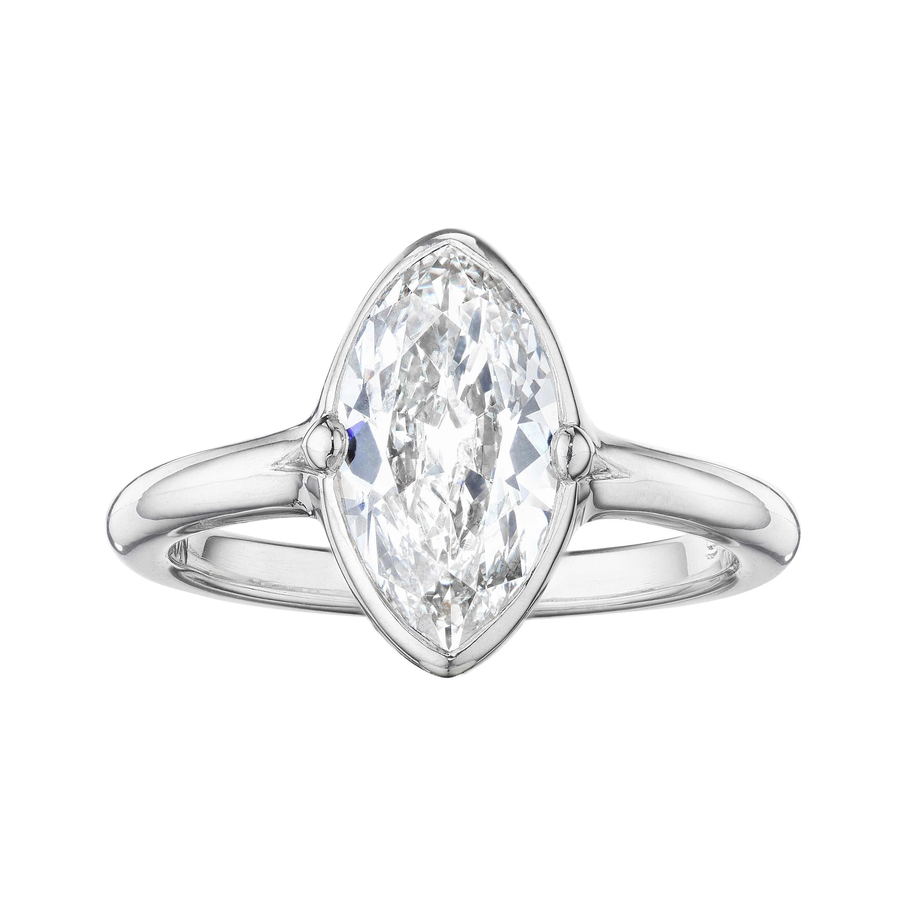 GIA Certified Diamond Navette Platinum Ring by Siegelson New York