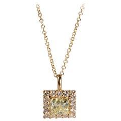 GIA Certified Diamond Necklace in 14 Karat Yellow Gold W-X VS2 1.38 Carat