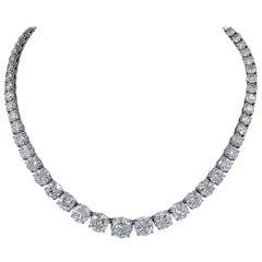 GIA Certified Diamond Platinum Riviera Necklace
