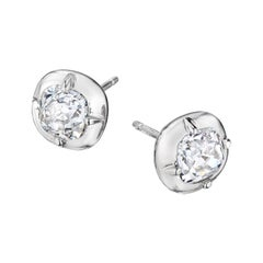 GIA Certified Diamond Platinum Stud Earrings by Siegelson New York