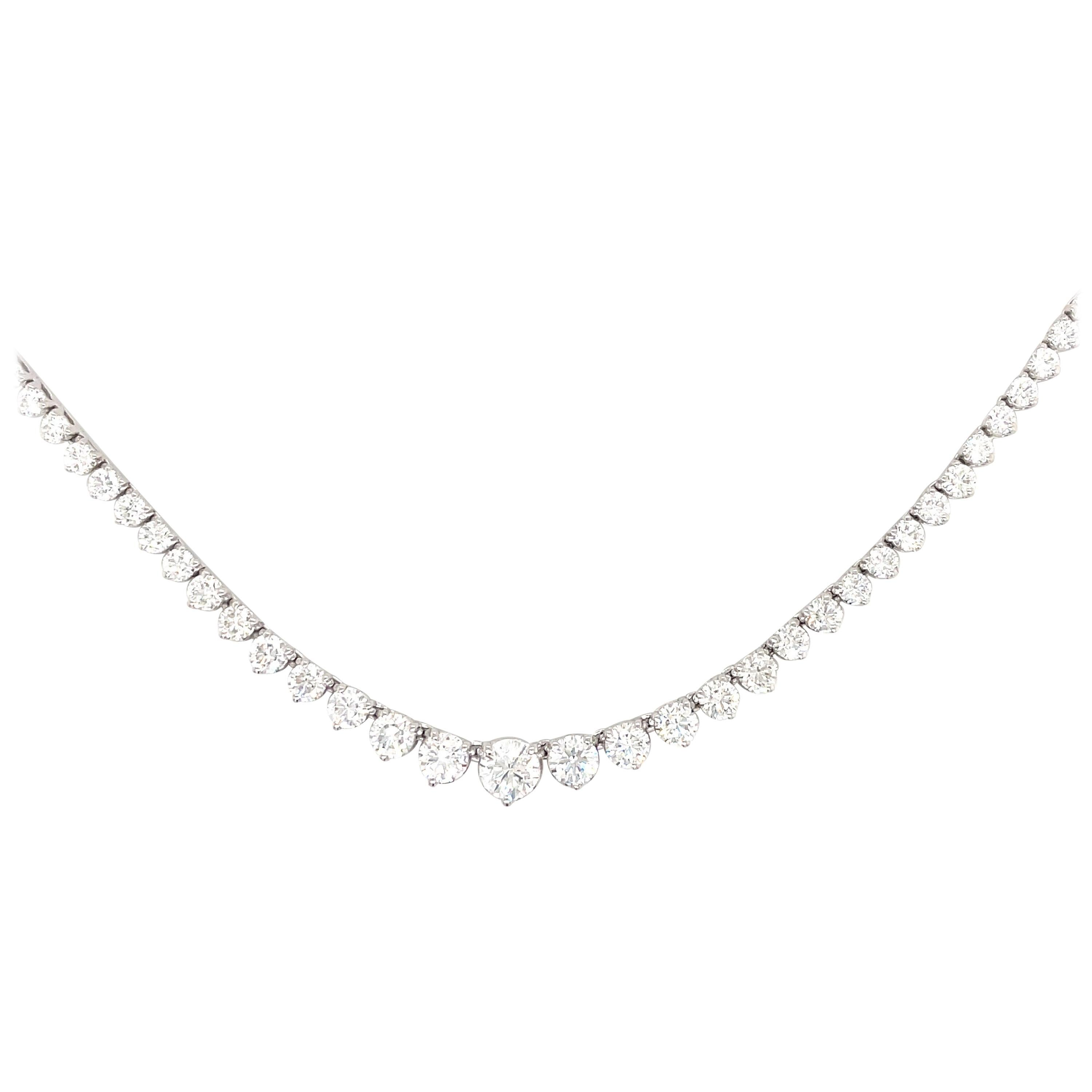 GIA Certified Diamond Riviere Necklace 10.12 Carats G SI2 18 Karat White Gold