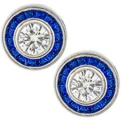 GIA Certified Diamond Sapphire Halo Earrings
