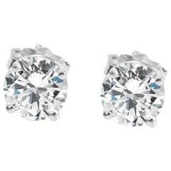 GIA Certified Diamond Stud Earring in 14 Karat White Gold G - I1 2.06 Carat